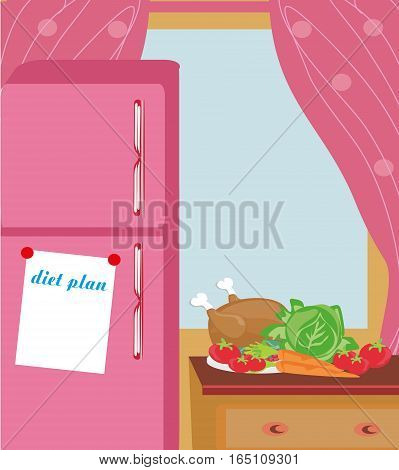 Diet plan. Workout planning. Healthy lifestyle , vector illustration
