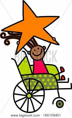A cartoon childlike drawing of a happy disabled girl sitting in a wheelchair and holding a giant star.