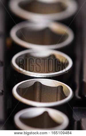 Socket driver set on a black background