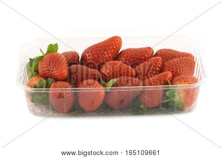 Many ripe appetizing red strawberries with green leaves in plastic container front view isolated closeup