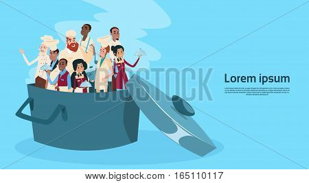 Restaurant Stuff Cook And Waiters In Saucepan Service Mix Race Group Banner Flat Vector Illustration