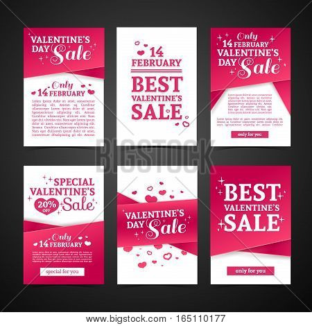 Set template design Happy valentine's day card. Collection price tag with pink color tape and special valentine's sale text. Romantic horizontal banner and coupon with heart and swirl decoration.