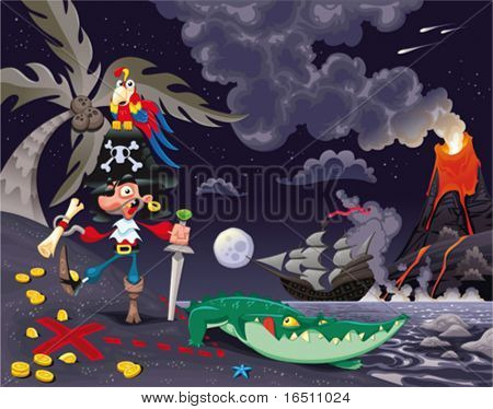 Pirate on the island in the night. Funny cartoon and vector scene.