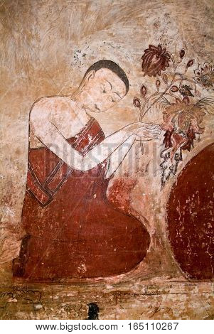Fresco on Sulamani temple at the archaeological site of Bagan on Myanmar