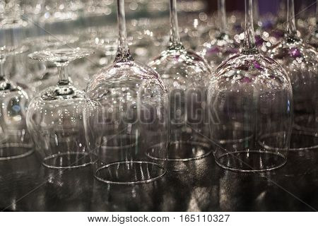 Clean cups and glasses on the bar