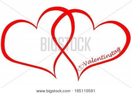 Two hearts and the german word for valentine`s day (Valentinstag), isolated on white