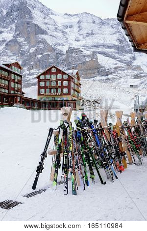 JungfrauSwitzerland-Jan 42017:Closeup Equipment for skiing a sport popular in winter in Switzerland and in countries with colder climates and snow.