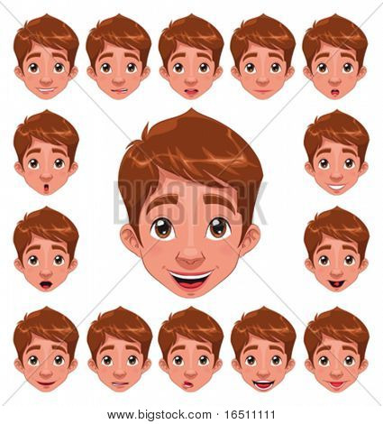 Boy Expressions with lip sync. Funny cartoon and vector character.