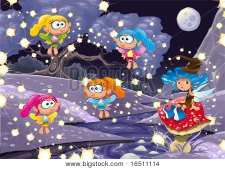 Cartoon landscape with fairies. Vector illustration, isolated objects