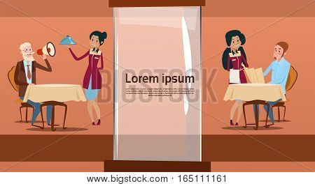 Restaurant Stuff Cook And Waiters Serving Client Mix Race Group Cafe Interior Flat Vector Illustration