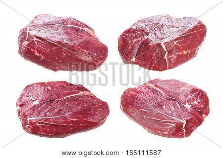 Fresh piece of raw beef on plate isolated on white background.