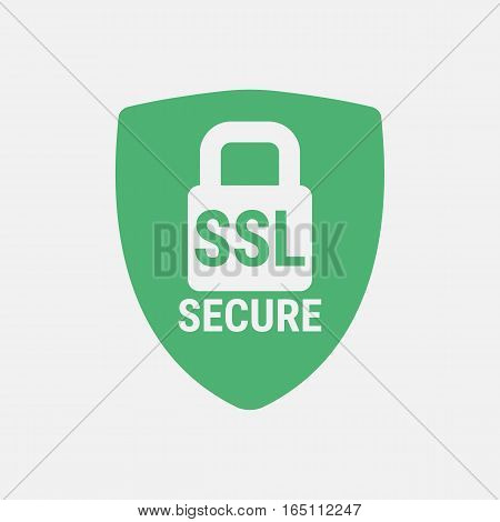 Closed padlock on a background of a green shield.