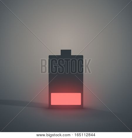 Low Battery symbol glowing red against a grey background.