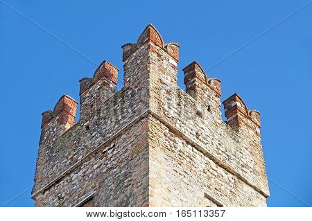 The most famous romanesque cathedral with the medieval tower detail .