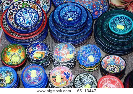 Traditional Cretan ceramic dishes for sale outside an old town shop Chania Crete Greece Europe.