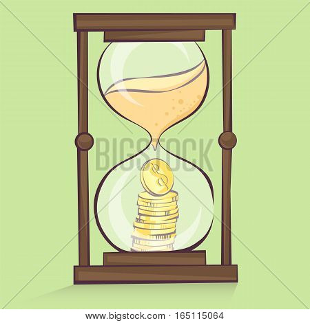Money in hourglass coins stacks inside of sand clock cartoon style isolated vector illustration