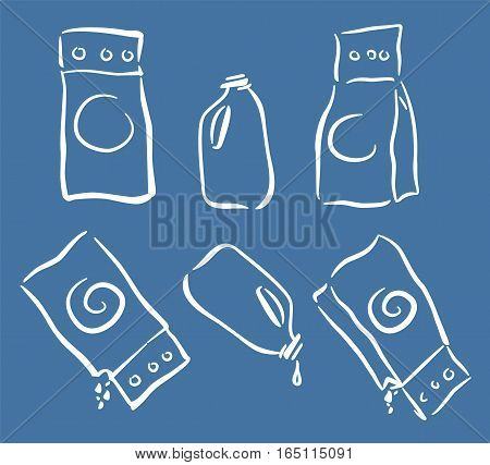 Washing cleanser packagings icons set full and empty doodle sketch style