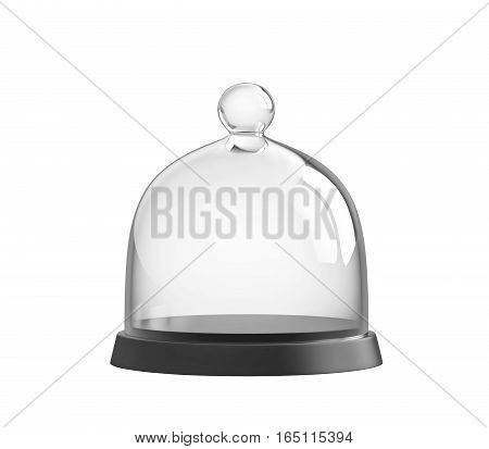 Glass bell jar isolated on white. 3D rendering
