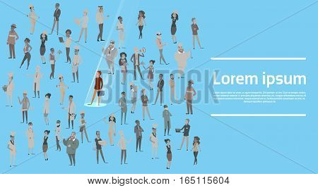 People Group Different Occupation Spotlight Hire Human Resource Recruitment Candidate Banner Flat Vector Illustration