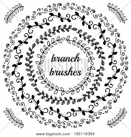 Hand drawn branch and curvy brushes set made in vector. Decorative floral  brushes great for borders.