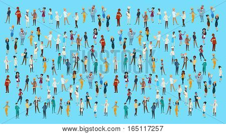 People Group Different Occupation Set, Employees Mix Race Workers Banner Flat Vector Illustration