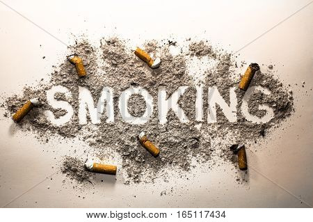 Word smoking made in cigarette ash and bud as a addiction concept