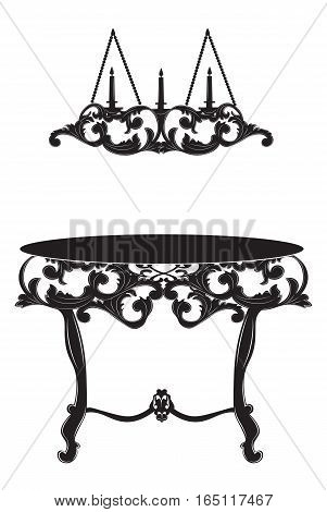 Rich Baroque commode Table and lamp. French Luxury rich carved ornaments decorated furniture. Vector Victorian Royal Style structure