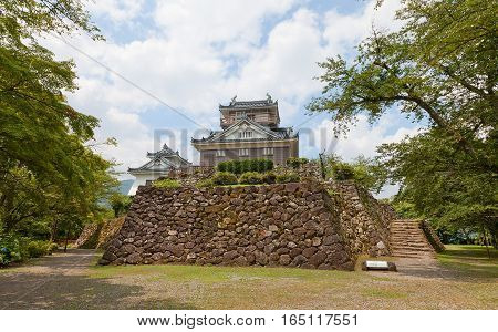 OHNO JAPAN - AUGUST 02 2016: Reconstructed main keep (donjon) of Echizen Ohno castle. Castle was founded in 1576 by Kanamori Nagachika dismantled in 19th c reconstructed in 1968