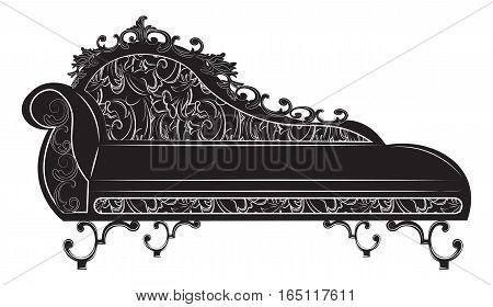 Rich Baroque bench. French Luxury rich carved ornaments decorated furniture. Vector Victorian Royal Style structure