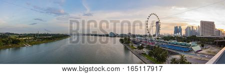 Singapore - January 7 2017: Panorama view of Marina Bay. High view of Singapore City Marina Bay is one of the most famous tourist attraction in Singapore.