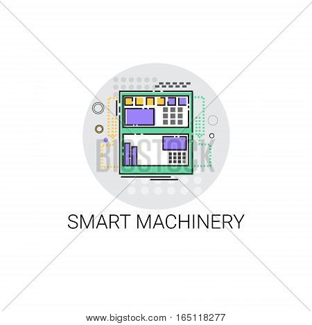 Smart Machinery Industrial Automation Industry Production Icon Vector Illustration