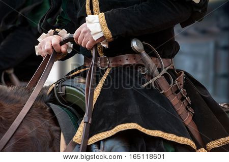 The medieval knights with sword during historical reenactment in Florence