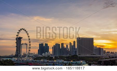 Singapore - January 7 2017: Cityscape Singapore Urban Skyline and View of Skyscrapers at Sunset time in Singapor