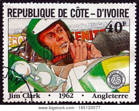 IVORY COAST - CIRCA 1981: a stamp printed in Ivory Coast shows Jim Clark British Formula One Racing Driver from Scotland circa 1981