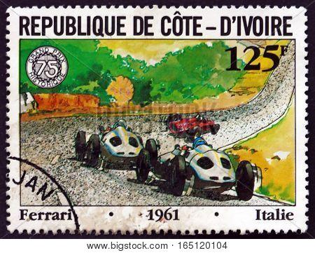 IVORY COAST - CIRCA 1981: a stamp printed in Ivory Coast shows Ferrari Racing Car circa 1981
