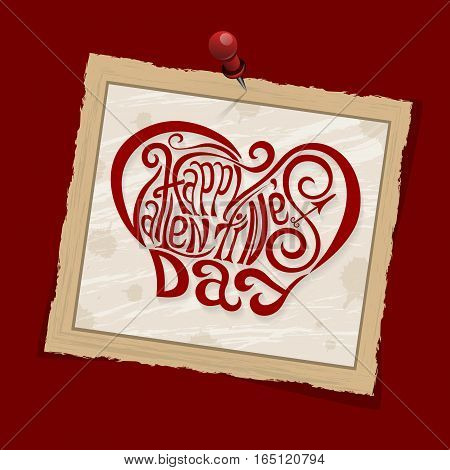 Happy Valentines Day Hand Drawing Lettering Red Styled Design. Square Old Vintage Frame With Shadows
