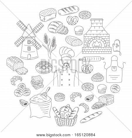 Bakery collection with baker in chief uniform, old brick oven, various sorts of bread, croissant, pretzel, french baguette, rolls, bagels, mill, flour bag. Doodle style vector illustrations isolated.