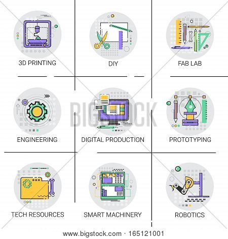 Smart Machinery Industrial Automation Production Icon Set, 3d Printing Tech Resources Fab Lab Collection Vector Illustration