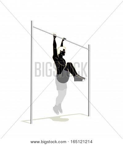 Black man on metal cross bar isolated.