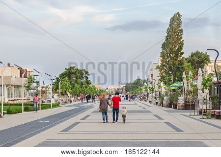 Mamaia, Romania - June 17, 2015. Seafront With Tourist Walking.