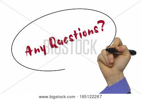 Woman Hand Writing Any Questions? On Blank Transparent Board With A Marker Isolated Over White Backg