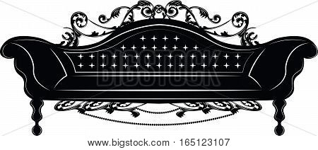 Baroque Imperial sofa. French Luxury rich carved ornaments decorated furniture. Vector Victorian Royal Style structure