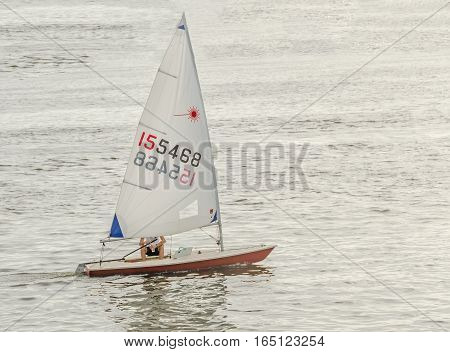 Bucharest, Romania - September 5, 2015. Sailboat, Yacht Sailling On Water, Dawn, Sunset, Close Up