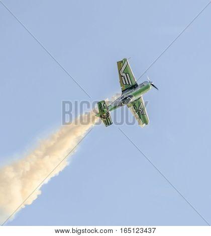 Bucharest, Romania - September 5, 2015. Aerobatic Airplane Pilot Jurgis Kairys Training In The Sky O