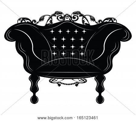 Baroque Imperial armchair. French Luxury rich carved ornaments decorated furniture. Vector Victorian Royal Style structure