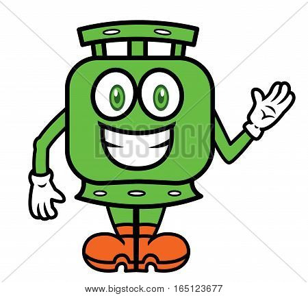 Gas Cylinder Waving Hand Cartoon Character Isolated on White