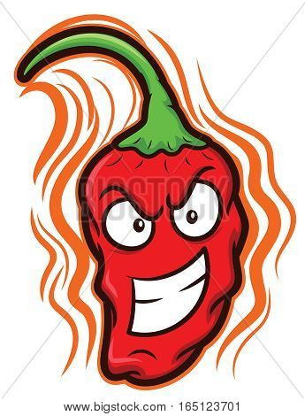 Ghost Chili Bhut Jolokia The Hottest Chili Pepper Cartoon
