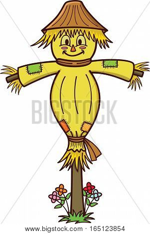 Happy Scarecrow Cartoon Illustration. Vector Character Isolated on White.