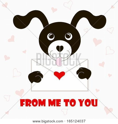 Typography banner From me to you, black and white cartoons dog with envelope, red hearts, stock vector illustration