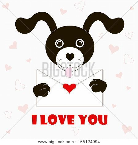 Typography banner I love you, black and white cartoons dog with envelope, red hearts, stock vector illustration